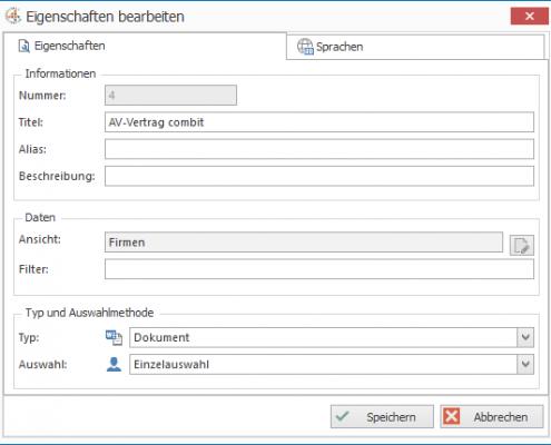 cosmoOffice - Eigenschaften bearbeiten