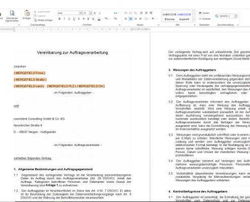 cosmoOffice - Vorlage bearbeiten